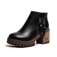 bottes de moto femme haute plate-forme achat en gros de-2018 nouvelles femmes bottes femmes plate-forme décontractée chaussures dames carrés talons hauts bottes courtes femme cool zipper moto bottillons