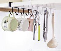 Wholesale metal trouser hangers wholesale - 100pcs hot Multi-function Kitchen Storage Rack Cupboard Hanging Hook Hanger Bathroom Sundries Hook Shelf Storage Organizer Holder