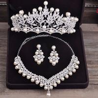 Wholesale costume jewelry pearl set - whole saleBride Diaries Costume jewelery sets New Design Pearl Bride 3pcs Set Necklace Earrings Tiara Bridal Women Wedding Jewelry Set
