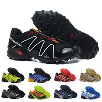 Wholesale high cs - NEW high quality Salomon Men Shoes zapatos hombre Speed Cross 3 CS III Sport Sneakers Men Black Blue yellow Speedcross Solomon running Shoes