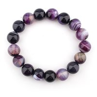 Wholesale 14mm agate beads - Natural Crystal Bracelet Bangle 14mm Purple Striped Dream Agate Ball DIY Crystal Bead Bracelet Jewelry Women Support FBA Drop Shipping H541F