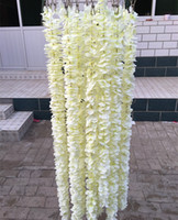 ingrosso fiori di orchidea di seta bianca-Matrimonio 1 metro lungo elegante mano orchidea fiore di seta vite bianco glicine ornamento ghirlanda per la decorazione del giardino di nozze festival