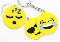 Wholesale fun keychains - Cute Emoji Keyrings Cartoon PVC Keychain Bags Smile Face Keychains Fun Gift 6 Designs Giveaway Emoticon Keychain For Kids Free DHL H440R