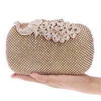 алмазный металлический павлин оптовых-Peacock Diamond Handbag Metal Flower Chain Shoulder Wallet  Satin Women Evening Bag Diamond Rhinstone Wedding Party Purse