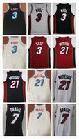 Wholesale dwyane wade shirt - Wholesale 2018 Men Fan 21# Hassan Whiteside jersey 7# Goran Dragic 3# Dwyane Wade basketball jerseys Black Red Embroidery City shirts jersey