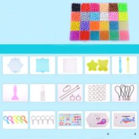 Wholesale beads pegboards - 24 Colors 3600Pcs Aqua Beads Transparent Set with pegboard Water Spray Magic Beads 3D Puzzle Educational Toy For Kids Gift