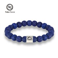 браслеты оптовых-New 12 Zodiac Signs 8mm  Bracelets Handmade Vintage Blue Lava Stone  Elastic Bracelets Jewelry For Men Women Jewelry