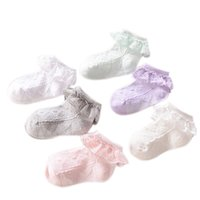 цветные детские летние носки оптовых-1 Pair Spring Summer Children Socks Solid Color Mesh Frilly Lace Low Cut Ankle High Baby Girls Thin Princess Sock @ NSV7