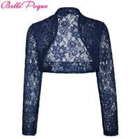 düğün danteli ceketler siyah toptan satış-Sonbahar Güz Ceketler Kadınlar Uzun Kollu Kırpılmış Shrug 2018 Siyah Yeşil Düğün Akşam Balo Ceket Wrap Artı Boyutu Bayan Dantel Bolero D1891803