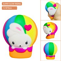 Wholesale Hot Air Balloons Toys - Rainbow Easter Rabbit Hot Air Balloon Squishy Toys Bunny Jumbo Simulation Bread Squeeze Slow Rising Kids Kawaii Toy Stress Reliever