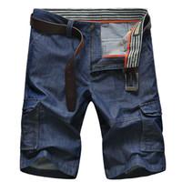 mann cargo jeans hose großhandel-Sommer Jeans Shorts Herren Lose Big Size 44 Shorts Hosen Herren Jeans Hosen Cropped Hosen Herren Bottoms Denim