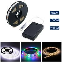smd pil toptan satış-Akülü LED Şerit 3528 SMD 50CM 1M 2M Sıcak Beyaz / Soğuk Beyaz / RGB Su Geçirmez Esnek Şerit LED Dize Işık