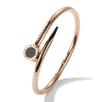 Wholesale Gold Nail Bangle - European and American couple titanium steel Roman black bay nail rose gold bracelet Fashion Jewelry For Women and Men