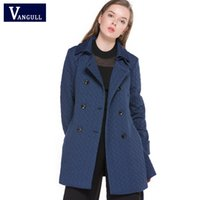 Wholesale trench coats windbreakers - VANGULL 2017 Women Clothing Solid Color Long Sleeved Casual New Coat Turn-Down Collar Pockets Trench Coat Female Windbreakers