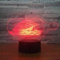 lâmpada de pérola negra venda por atacado-O Pérola Negra Oceano Navio Barco 3D LED Night Light Acrílico CONDUZIU a Lâmpada 7 Cores Mudança de Cabeceira Brinquedos Para Crianças Presente de Natal