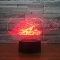 lampara de perla negra al por mayor-The Black Pearl Ocean Shipping Boat 3D LED luz de noche acrílico LED lámpara 7 colores cambiar de cabecera juguetes para niños regalo de Navidad