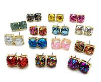 ingrosso orecchini dolci-2pcs = 1pair Square Glitter Sweet Earring Stud per il partito Orecchino carino Elegante orecchino R167
