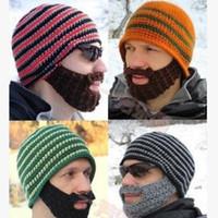 Wholesale Red Fit Bike - 5 Colors Hats Beanie Skull Caps Bearded Wool Knitted Hats Beard Knitted Hat Warmer Ski Bike Skull Hat Unisex Men Beard Cap Christmas hat