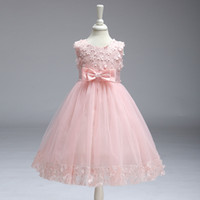 Wholesale evening wedding clothes - Bowknot For Flower Girls Children Clothing Vestido Infantil Princess Summer Evening Party Roupas De Menina Femininas Dress