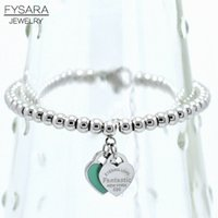 ingrosso bracciali in rilievo verde rosa-FYSARA marchio di lusso ETERNAL paio bracciali doppio cuore palle braccialetto di perline per le donne coppia verde rosa braccialetti di fascino S915