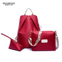 Wholesale Bookbags For School - Wholesale- WILIAMGANU 3PCS Set 2017 Women Nylon Backpack School Bags For Teenagers Girls Backpacks Cute Rucksack Schoolbag Lady Bookbags