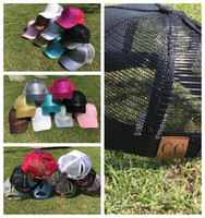 Wholesale glitter girl - 9 color CC Glitter Ponytail Baseball Cap Women Messy Bun Baseball Cap Girls Snapback Caps Summer Sports Mesh Hats KKA4555