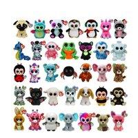große gegenstände großhandel-15cm Ty Beanie Boos Plüsch Stofftiere Große Augen Tiere Weiche Puppen für Kinder Geschenke Große Augen ty Spielzeug 35styles Neuheit Artikel AAA1140