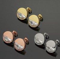 18k rosé vergoldeten ohrringe großhandel-Neue Ankunfts-Großhandelspreis-runde Hälfte-Bohrgerät-Bolzen-Ohrringe 18K vergoldete 3 Farben Rose Gold-Ohrringe der Frauen Freies Verschiffen