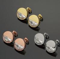 brincos de ouro rosa de 18k venda por atacado-Nova Chegada de Preços Por Atacado Rodada Metade-Broca Do Parafuso Prisioneiro Brincos Banhados a Ouro 18 K 3 cores de Ouro Rosa das Mulheres Brincos Frete Grátis