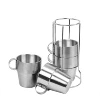 Wholesale vacuum frame - 4pcs Outdoor Picnic coffee Cups Stainless Steel Double layer Drinking Mugs vacuum Tea Coffee Cup Set With Frame