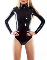 hals latex frau großhandel-Latex Catsuit High Neck Sollte Einstieg Frauen Latex Trikot Gummikotanzug Schulter Reißverschluss
