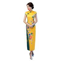 vintage cheongsam çince elbisesi toptan satış-Sarı Kadınlar Vintage Ince Qipao Saten Çiçek Seksi Mandarin Yaka Cheongsam Yüksek Bölünmüş Boy Çin Elbiseler Vestidos 3XL