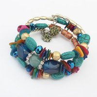 pulseira imitação china venda por atacado-Grânulos de cristal Bohemian Encantos Pulseiras Para As Mulheres Étnicas Tibet Multilayer Imitação Pedra Natural Pulseiras Pulseiras Presente