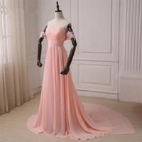 orange wedding bridesmaid gowns toptan satış-2018 Açık turuncu Şifon Gelinlik Modelleri Dantel Kapalı Omuz Kadınlar Örgün Elbiseler Düğün Parti Elbise Ucuz Balo Parti Törenlerinde