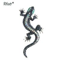 klasik şapkalar toptan satış-RHao Vintage Mavi Rhinestones Kertenkele Broş pins Yeşil Gözler Gecko Hayvan Kadınlar Erkekler Çocuklar için broş Korsaj