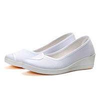 zapatos de deslizamiento de enfermería al por mayor-Nueva llegada Zapatos de enfermera Otoño Damas Pisos Zapatos de mujer Plataforma plana Moda Damas Slip-on Pisos Blanco Size34-41
