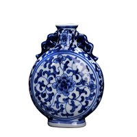 antike weiße vasen großhandel-Antike Vintage Home Dekoration Keramik Vase handbemalt blau und weiß Porzellan Blume chinesischen Ming Vase
