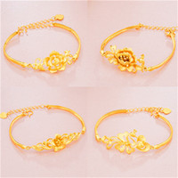 Wholesale Copper Gilding - Gold bracelet gilded Peacock cashmere imitation gold bracelet female sand flower lady butterfly pure brass ornaments