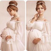 weiße baumwoll-mutterschaftskleider großhandel-Sexy weiße Umstandskleid der Sommerspitzehochzeitsumstandskleidmutterschaftsfotografie Requisitenbaumwollschwangeres Kleid für Schießenfoto