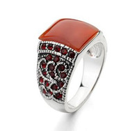 Wholesale italina jewelry brand for sale - Group buy Red Corundum Men Rings K Real Gold Plated Fashion Rings Italina Brand Jewelry