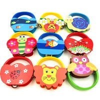 Wholesale wooden toys resale online - Baby Newborn Gift Toys Kids Girls Learning Musical Instrument Toy Rattles Cartoon Wooden Percussion Animal Bell Infant Boys