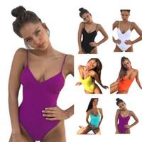 bikini оптовых-Твердые купальники для женщин V-образным вырезом купальники сексуальное бикини пляжная одежда бикини One Piece Set Us Size