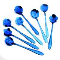flores azules al por mayor-Cuchara para mezclar café Bandeja de oro plateada de acero inoxidable azul Flores de cerezo Postre Cucharada Rosa Forma Especial 2 6wla V