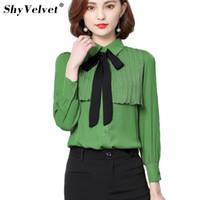 Wholesale office wear blouses - Long Sleeve Bow Chiffon Shirt Office Wear Women Summer Tops Pleated Blouses Solid White Green Beige