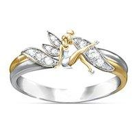 koreanischen neuen stil ringe großhandel-Korean New Style Einfache Mode Schöne Engel Ring mit Kristall Blume Fairy Ring für Frauen
