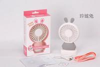Wholesale cartoon mini fan - Mini Portable Fan Cartoon rabbit USB Rechargeable Foldable Handheld Summer Air Cooler Cooling Fan Portable Fan Kids Toys
