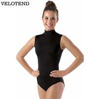 ingrosso leotard nero di lycra-Dolcevita nero Body da ginnastica per donna Spandex Lycra Body senza maniche da danza classica Danza collo maniche lunghe