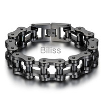 ingrosso braccialetti della catena della bicicletta per gli uomini-23cm * 18mm nero / argento Heavy Wide bracciale in acciaio inossidabile da uomo Biker bicicletta catena da motociclista Bracciali da uomo