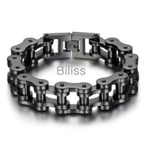 Wholesale stainless steel heavy bracelets resale online - Black Silver Heavy Wide Stainless Steel Bracelet cm mm Men Biker Bicycle Motorcycle Chain Men s Bracelets Mens Bangles