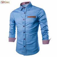 kot ince elbise toptan satış-Taktik Iş Denim Gömlek Erkekler Rahat Kot Elbise Gömlek Camisa Sosyal Masculina Slim Fit Bluz Sonbahar Uzun Kollu Blusas